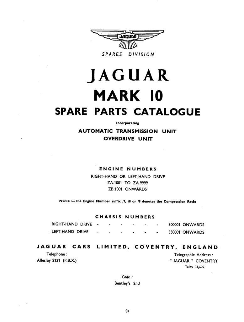 Jaguar Mk10 Parts Catalogue Pdf  11 8 Mb